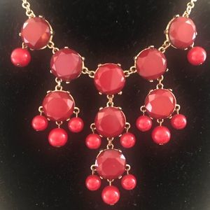 Red and gold statement necklace. 12 inches